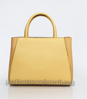 Fendi Yellow Cross Veins Leather Small Tote Bag-1