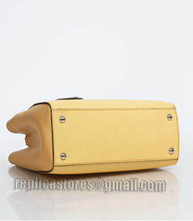 Fendi Yellow Cross Veins Leather Small Tote Bag-2