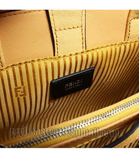 Fendi Yellow Cross Veins Leather Small Tote Bag-3