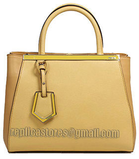 Fendi Yellow Cross Veins Leather Small Tote Bag-5