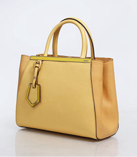 Fendi Yellow Cross Veins Leather Small Tote Bag