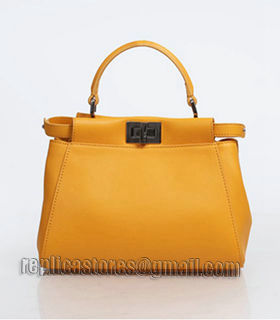 Fendi Peekaboo Sunflower Yellow Original Leather Small Tote Bag-1