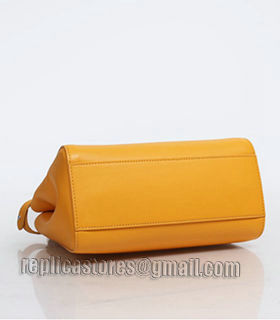 Fendi Peekaboo Sunflower Yellow Original Leather Small Tote Bag-2