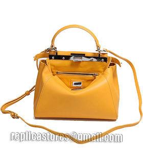 Fendi Peekaboo Sunflower Yellow Original Leather Small Tote Bag-5