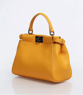 Fendi Peekaboo Sunflower Yellow Original Leather Small Tote Bag