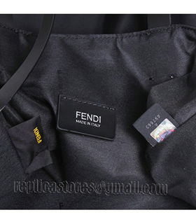 Fendi Black Original Fabric With Leather Shopping Bag Blue Eye-1