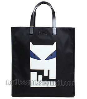 Fendi Black Original Fabric With Leather Shopping Bag Blue Eye-2