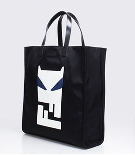 Fendi Black Original Fabric With Leather Shopping Bag Blue Eye