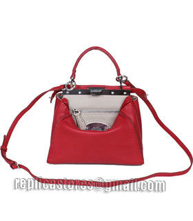 Fendi Peekaboo Dark Red Litchi Pattern Leather Small Tote Bag With Apricot Leather Inside-4