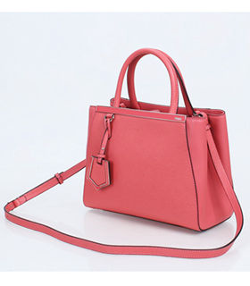 Fendi Watermelon Red Cross Veins Leather Small Tote Bag