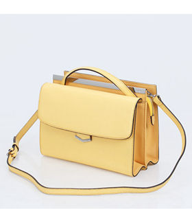 Fendi Demi Jour Yellow Cross Veins Leather Small Shoulder Bag