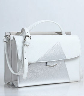 Fendi Demi Jour White/Silver Cross Veins Leather Small Shoulder Bag
