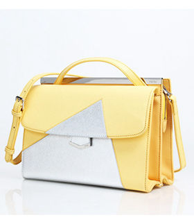 Fendi Demi Jour Yellow/Silver Cross Veins Leather Small Shoulder Bag