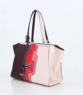 Fendi 3Jours Computer Puzzle Jujube/Pink Leather Small Shopping Bag