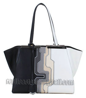 Fendi 3Jours Computer Puzzle Black/White Leather Small Shopping Bag-5
