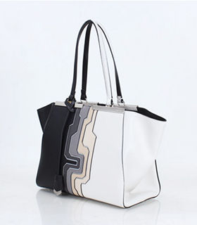 Fendi 3Jours Computer Puzzle Black/White Leather Small Shopping Bag