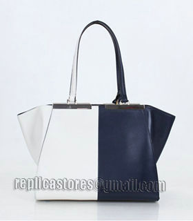Fendi 3Jours Computer Puzzle Blue/White Leather Small Shopping Bag-1