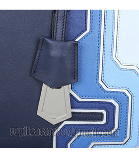 Fendi 3Jours Computer Puzzle Blue/White Leather Small Shopping Bag-2