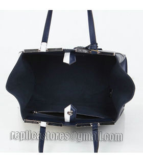 Fendi 3Jours Computer Puzzle Blue/White Leather Small Shopping Bag-3