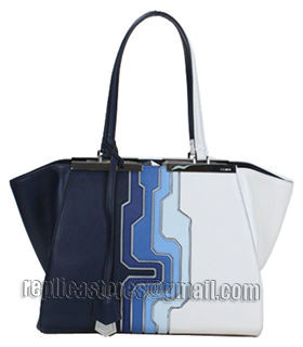 Fendi 3Jours Computer Puzzle Blue/White Leather Small Shopping Bag-5