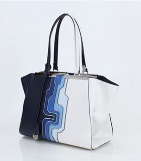 Fendi 3Jours Computer Puzzle Blue/White Leather Small Shopping Bag