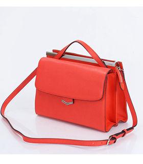 Fendi Demi Jour Orange Red Cross Veins Original Leather Small Shoulder Bag