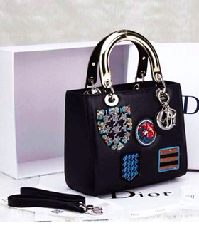 Christian Dior Small Lady Cannage Golden D Tote Bag Black Badge Pattern Calfskin Leather With Metal Handle