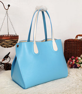 Christian Dior Addict Shopping Bag Two-Tone Calfskin Leather Sky Blue/White
