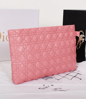 Christian Dior Pink Lambskin Leather Shoulder Bag With Golden Chain