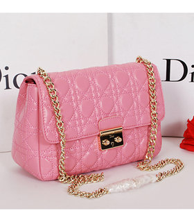 Christian Dior Sakura Pink Original Lambskin Leather Small Shoulder Bag With Golden Chain