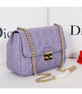 Christian Dior Lavender Purple Original Lambskin Leather Small Shoulder Bag With Golden Chain