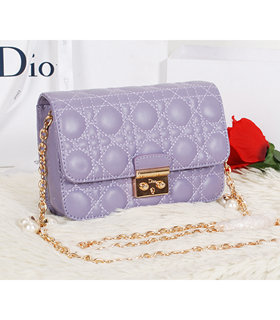 Christian Dior Lavender Purple Original Lambskin Leather Mini Shoulder Bag With Golden Chain