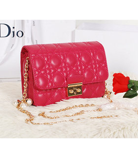 Christian Dior Fuchsia Original Lambskin Leather Mini Shoulder Bag With Golden Chain