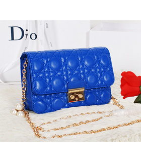 Christian Dior Electric Blue Original Lambskin Leather Mini Shoulder Bag With Golden Chain