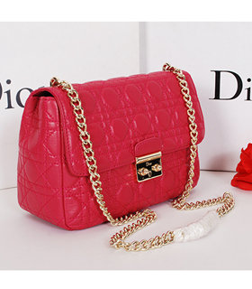 Christian Dior Fuchsia Original Lambskin Leather Small Shoulder Bag With Golden Chain