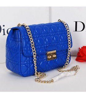 Christian Dior Electric Blue Original Lambskin Leather Small Shoulder Bag With Golden Chain