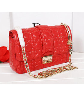 Christian Dior Red Original Lambskin Leather Small Chains Bag