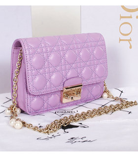 Christian Dior Lavender Purple Lambskin Leather Mini Shoulder Bag With Pink Leather Inside