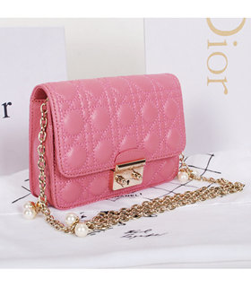 Christian Dior Sakura Pink Lambskin Leather Mini Shoulder Bag With Pink Leather Inside
