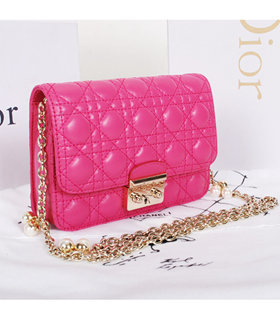 Christian Dior Fuchsia Lambskin Leather Mini Shoulder Bag With Pink Leather Inside
