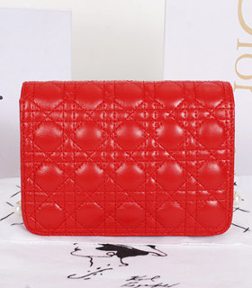 Christian Dior Red Lambskin Leather Mini Shoulder Bag With Pink Leather Inside