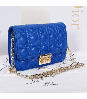 Christian Dior Sapphire Blue Lambskin Leather Mini Shoulder Bag With Pink Leather Inside