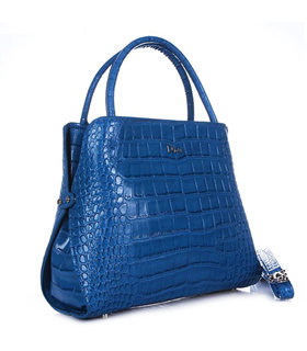 Christian Dior Blue Croc Veins Leather Tote Bag
