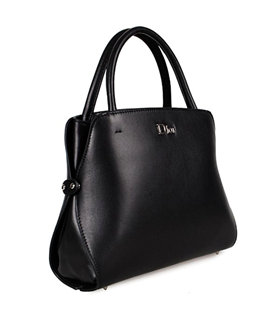 Christian Dior Black Leather Small Tote Bag