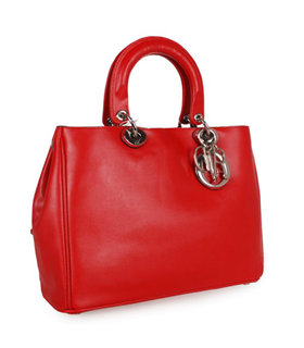 Christian Dior Medium Diorissimo Bag In Red Leather
