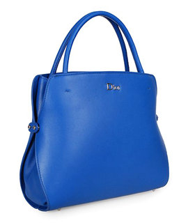 Christian Dior Electric Blue Leather Medium Tote Bag
