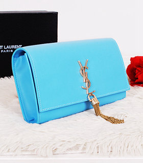 Yves Saint Laurent Monogramme Sky Blue Leather Clutch With Golden Chain  Tassel 446da70db50a5