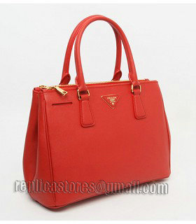 Prada Saffiano Red Cross Veins Leather Tote Small Bag-1