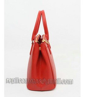 Prada Saffiano Red Cross Veins Leather Tote Small Bag-2