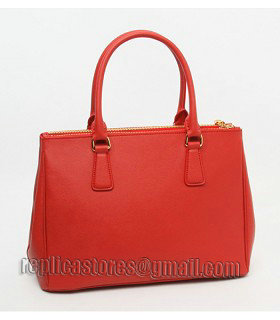 Prada Saffiano Red Cross Veins Leather Tote Small Bag-3